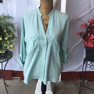 Zara Aqua Blue Button Up Top